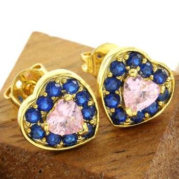 14k Yellow Gold Overlay Beautifully Created Blue and Pink Sapphire Stud Earrings