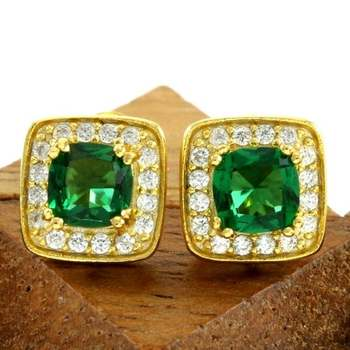 14k Yellow Gold Overlay Beautifully Created Emerald and White Sapphire Stud Earrings