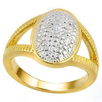 14k Yellow Gold Overlay Beautifully Created Fine Diamond Oval Ring Size 8