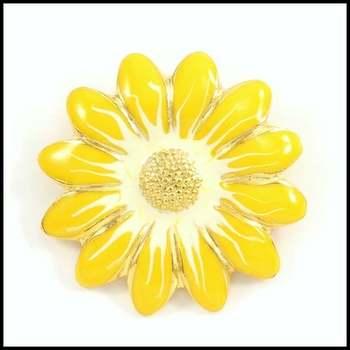 14k Yellow Gold Overlay, Enamel Flower Brooch