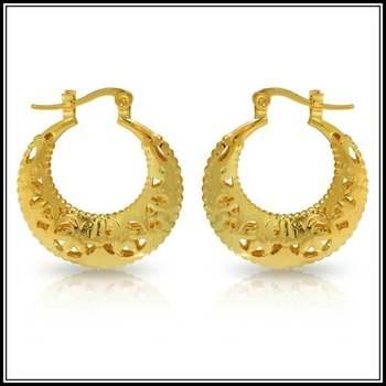 14k Yellow Gold Overlay Moon Clasp Earrings