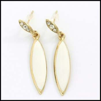 14k Yellow Gold Plated, 0.46ctw White Sapphire & White Enamel Earrings