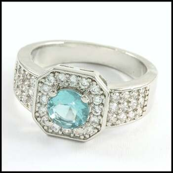 1.50ctw Blue Topaz & White Sapphire Ring Size 6