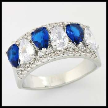 1.50ctw Blue & White Sapphire Ring size 7