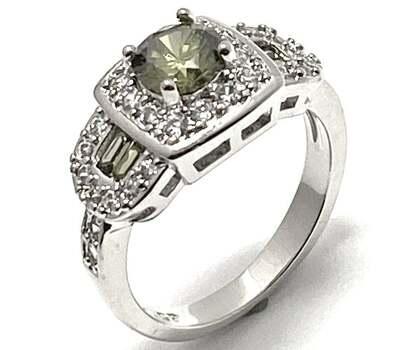 1.50ctw Peridot & 0.25ctw White Diamonique Ring Size 7