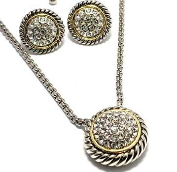 1.50ctw White Topaz Set of Necklace & Earrings