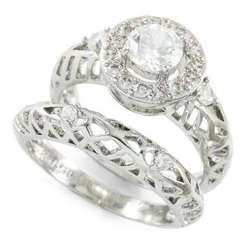 1.53ctw White Sapphire Set of Two Rings Size 7
