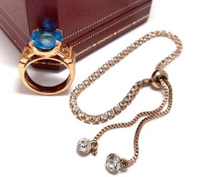 15.50ctw Blue Topaz & 1.25ctw White Diamonique Lot of Ring & Bracelet