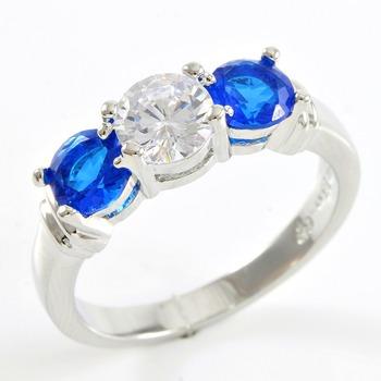 1.55ctw Blue & White Sapphire Ring sz 7