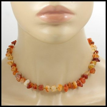 """16"""" Genuine Ginger Agate Bead Necklace with Sterling Silver Clip"""