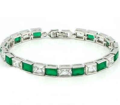 16.00ctw Emerald & White Topaz 6 inches Bracelet