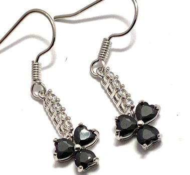 1.60ctw Beautifully Created Black and White Sapphire Earrings