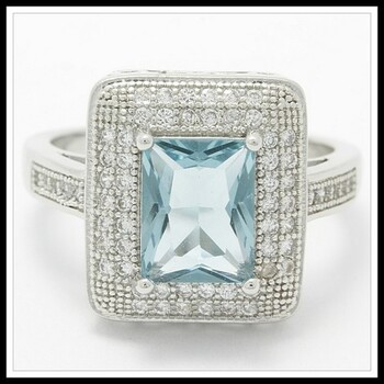 1.60ctw Sky Blue Topaz & White Sapphire Ring Size 7