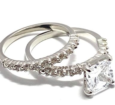 1.60ctw White Sapphire Set of Two Rings size 7