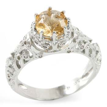 1.64ctw Citrine & White Sapphire Ring Size 7