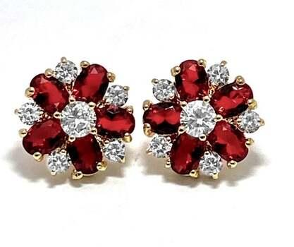 16.50ctw Red Corundum & 3.0ctw White Diamonique Earrings