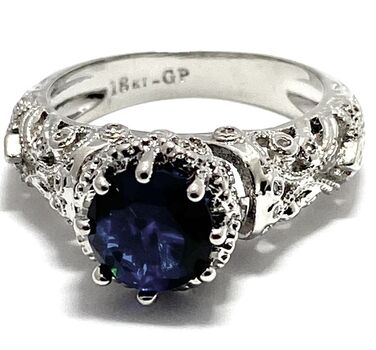 1.65ctw Blue & White Sapphire Ring Size 6.5