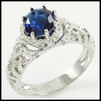 1.65ctw Blue & White Sapphire Ring Size 7