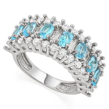 1.73ctw Sky Blue Topaz & White Sapphire Ring Size 7