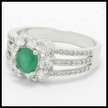 1.75ctw Emerald & White Sapphire Ring Size 7