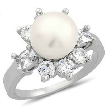 1.75ctw Fresh Water Pearl & White Sapphire Ring Size 6.5