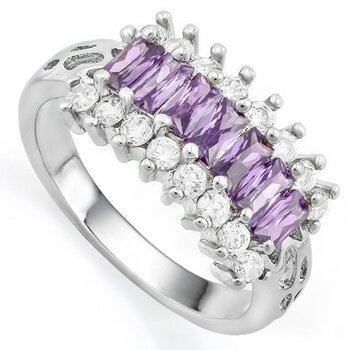 1.76ctw Amethyst and White Sapphire Ring Size 7