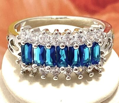 1.76ctw Blue & White Sapphire Ring Size 6.5