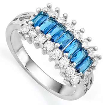 1.76ctw Blue & White Sapphire Ring Size 7