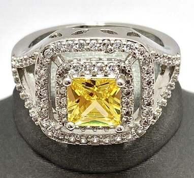 1.78ctw Citrine & White Sapphire Ring