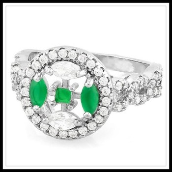 1.78ctw Emerald & White Sapphire Ring Size 7