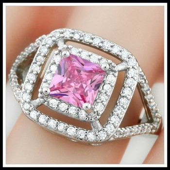 1.78ctw Pink & White Sapphire Ring Size 8