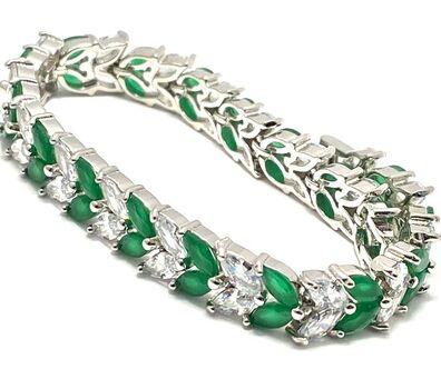 18.00ctw Man-made Emerald & Diamonique Tennis Bracelet