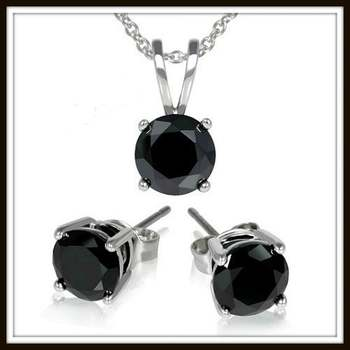 1.80ctw Black Cubic Zirconia CZ Set of Earrings & Necklace