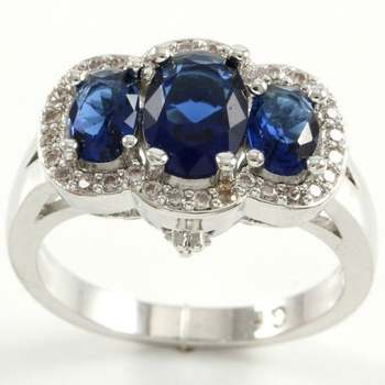 1.85ctw Blue & White Sapphire Ring Size 8