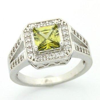 1.85ctw Peridot & Cubic Zirconia Ring sz 7