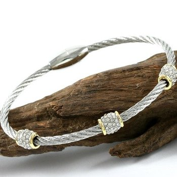 18k Gold High Polish Layered Lead Free High End Jewelry White Zircon Magnetic Clasp Cable Bracelet