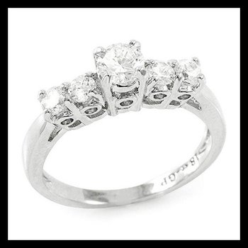 18k Gold Plated Round Brilliant Cubic Zirconia CZ Engagement Ring Size 7
