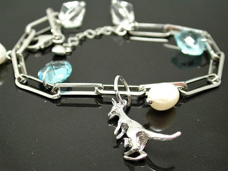 18k White Gold & 925 Sterling Silver 8.50ctw Genuine Blue Topaz & 8mm Genuine Pearls Charm Kangaroo Bracelet