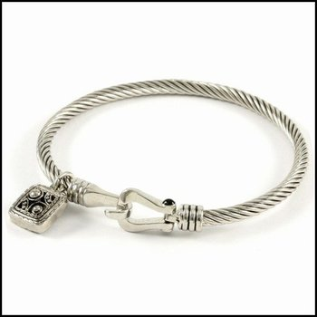 18K White Gold High Polish Layered Lead Free High End Jewelry Cable Bangle Bracelet