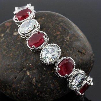 14k White Gold Overlay Ruby  and White Sapphire Tennis Bracelet