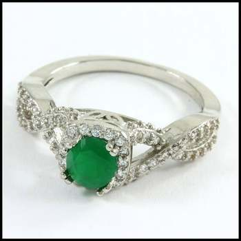 18k White Gold Overlay, 1.26ctw Emerald & White Sapphire Ring Size 7