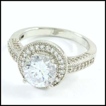 18k White Gold Overlay, 2.33ctw White Sapphire Ring Size 7