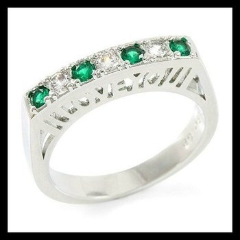 """18k White Gold Plated 3mm Round Cubic Zirconia CZ """"I Love You"""" Filigree Ring Size 6.5"""