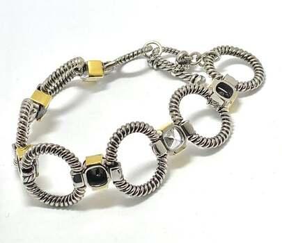 19.00ct White Topaz & Black Spinel Chunky Statement Bracelet Two-Tone 14k Gold Over