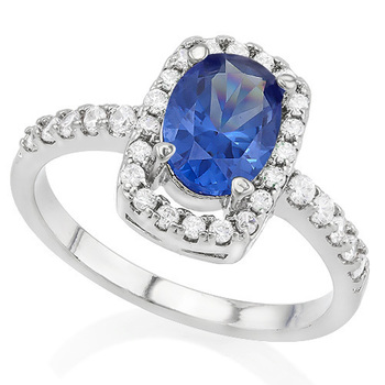 1.90ctw Tanzanite & White Sapphire Ring sz 7