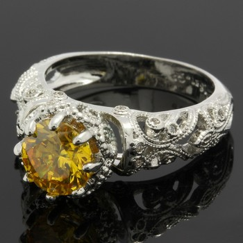 1.90ctw Yellow & White Topaz Ring Size 6 3/4