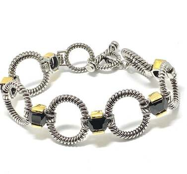 19.25ct Black Spinel Chunky Statement Bracelet Two-Tone 14k Gold Over