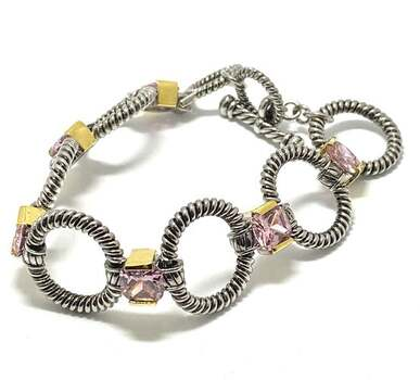 19.25ct Pink Topaz Chunky Statement Bracelet Two-Tone 14k Gold Over