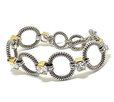 19.25ct White Topaz Chunky Statement Bracelet Two-Tone 14k Gold Over