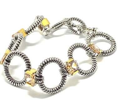 19.5ct Golden Topaz Chunky Statement Bracelet Two-Tone 14k Gold Over
